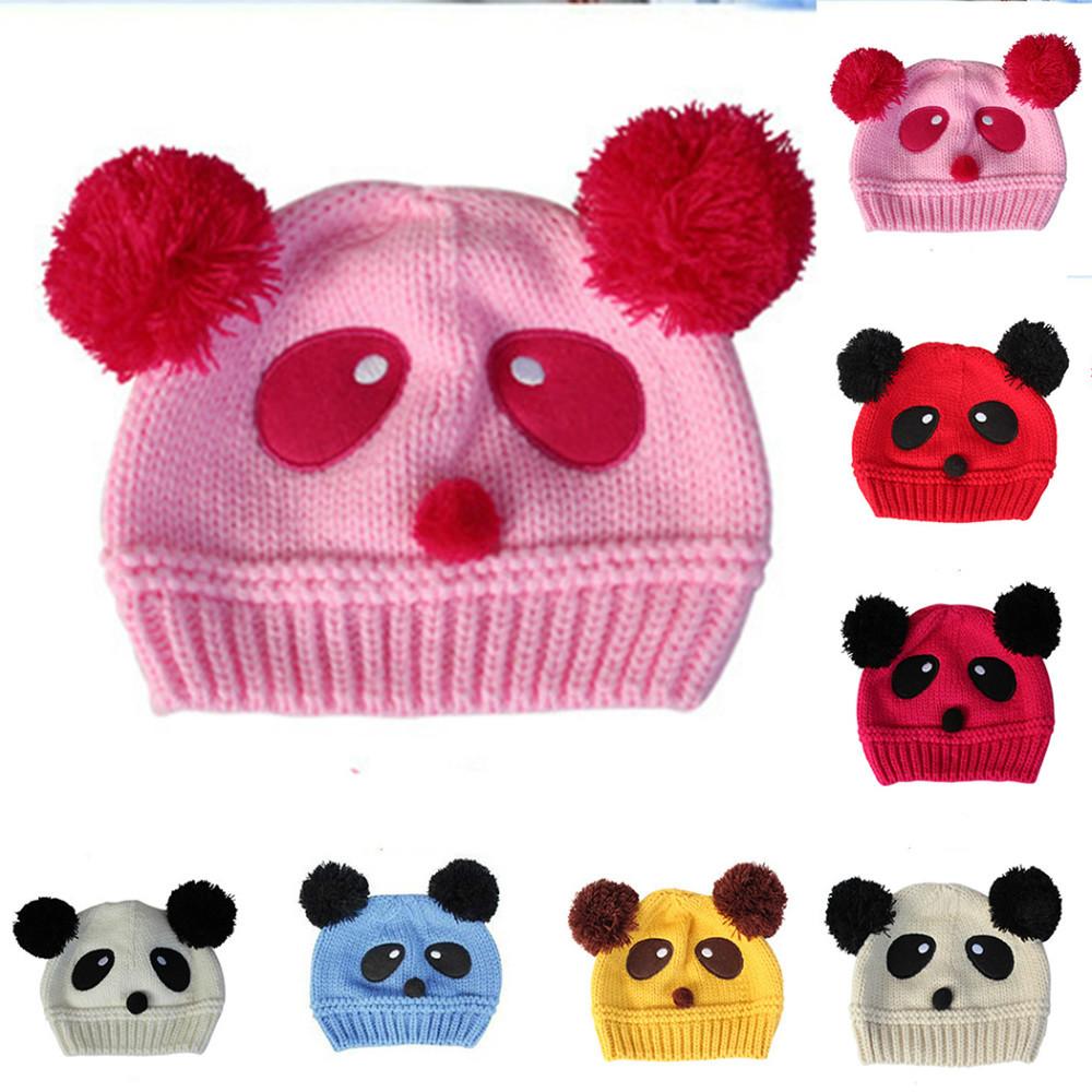 New Cute Animals Style Design Baby Girl Boy Toddler Kids Winter Warm Panda Pattern Beanie Cap Crochet Knit Hat(China (Mainland))