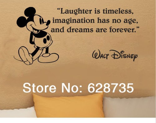 Free shipping Mickey mouse wall stickers,Mickey Mouse dreams are forever wall quote art mural vinyl wall decals children,K2053(China (Mainland))