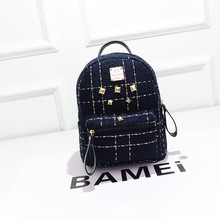 Women Mini Backpack Black New Korean Gold shiny Fashion Plaid Mini Rivet  Retro Vintage lady backpack Cute Novelty(China (Mainland))