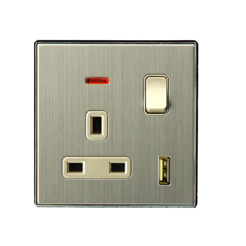 Wall Sconce With Socket Switch : A large home wall switch socket 13A BS socket with switch and light and USB 86 flat panel ...