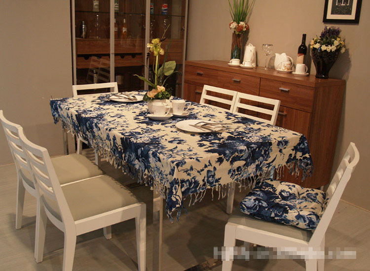 chinese dining tables printed table linen cotton high quality woven table cover tassel tablecloth for outdoor manteles lino(China (Mainland))
