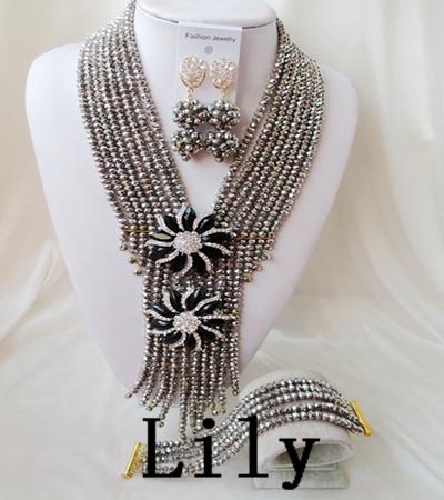 Latest Design Party / Wedding Bridal Jewelry Set 18k Wedding For Brides Nigerian Crystal Beads Set Free Shipping C-4526<br><br>Aliexpress