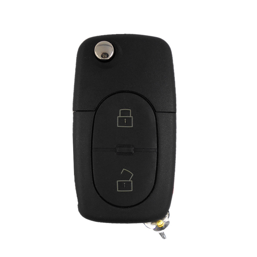 For Small Battery - Flip Remote Key Case Shell 2+1 Buttons for VW Audi A2 A3 A4 A6 A8 Car Alarm Housing Keyless Entry Fob Cover(China (Mainland))