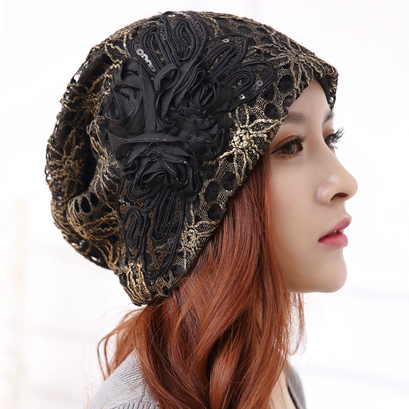 Warm Beanie Hats For Women Autumn Winter Bad Hair Day Windproof Hat Lace Cotton Gorro Sequins Flower Cap Touca Inverno Feminine(China (Mainland))
