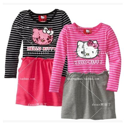 Hello Kitty Autumn Full-sleeved Cotton Kids Dress Girls Tutu Dress Princess Stripe Dress Suitable For 2- 10Age Lolita Girl(China (Mainland))