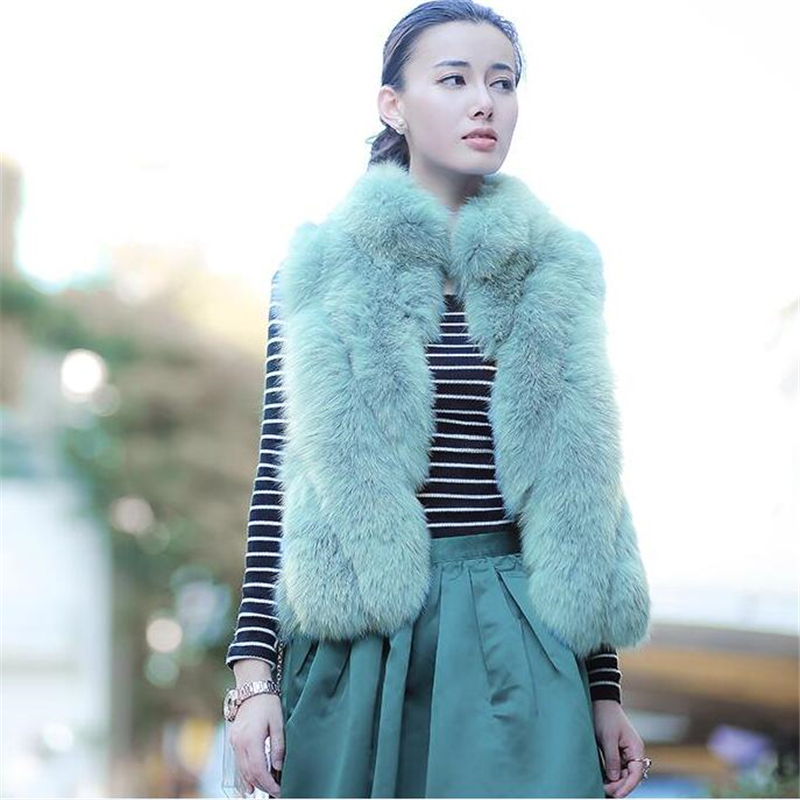 New Autumn Winter Genuine Natural Real Fox Fur Vest Women's Full Pelt Waistcoat Warm Fashion Short Gilet 160517-2(China (Mainland))