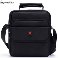 Soperwillton Brand 2017 New Fashion Men Messenger Bags With Soft Handle Shoulder & Crossbody &Handbag Black Color Bag Men #1057(China (Mainland))