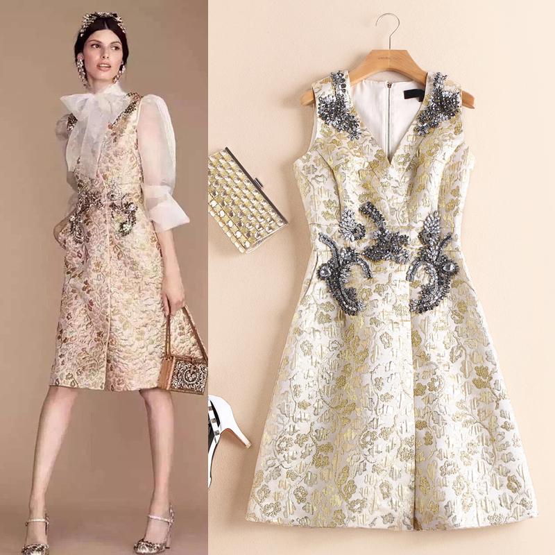 Pasarela estrella Fan Bingbing con el Europeo de gama alta de gran V collar retro jacquard temperamento de las señoras vestido de las mujeres(China (Mainland))