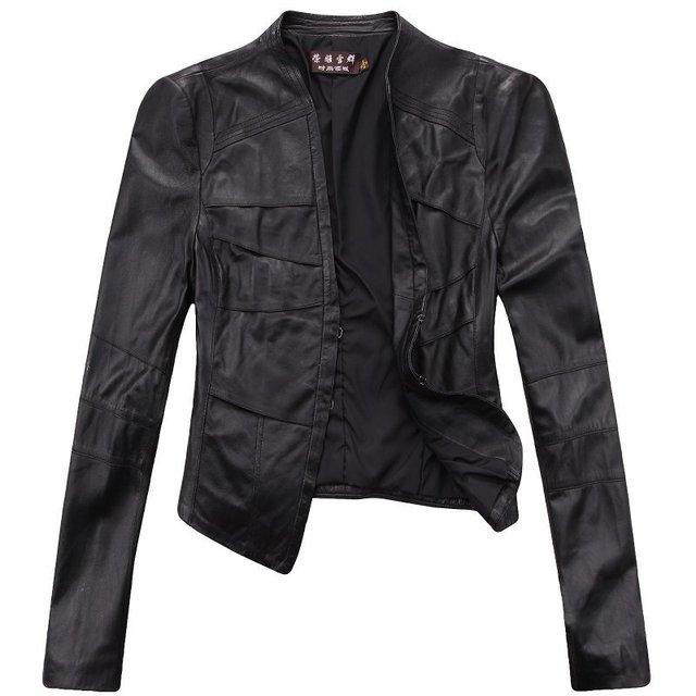 Free shipping! Womes Genuine Leather Jacket / Coat Motobike Leather Jacket  Balck M~2XL 1373