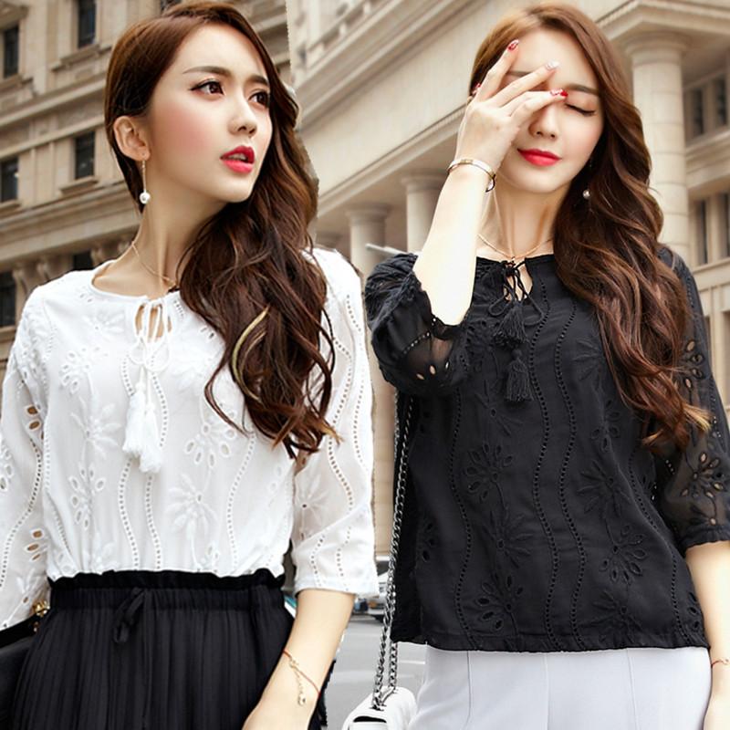 L~5XL Brand Plus Size 2016 Spring Elegant Fashion Hollow Out Crochet Flower Chiffon 3/4 Sleeve Women Tops Big Lady Blouse Shirt(China (Mainland))