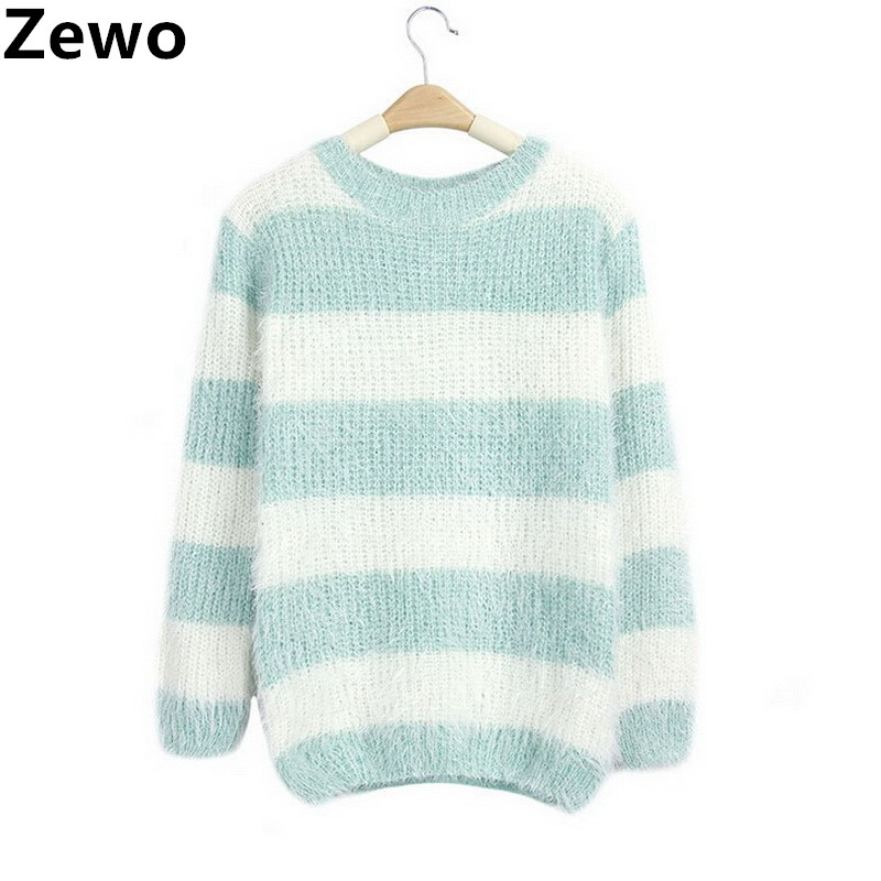 Multicolor Women Striped Sweaters And Pullovers O Neck Knitted Mohair Sweaters Warm Pull Femme Casual Ladies Tops Autumn 2016(China (Mainland))