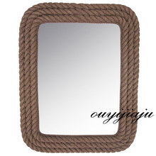 large big resin rectangular decorative cosmetic antique wall bath mirror with frame hemp rope shaperural style vintage homedecor(China (Mainland))