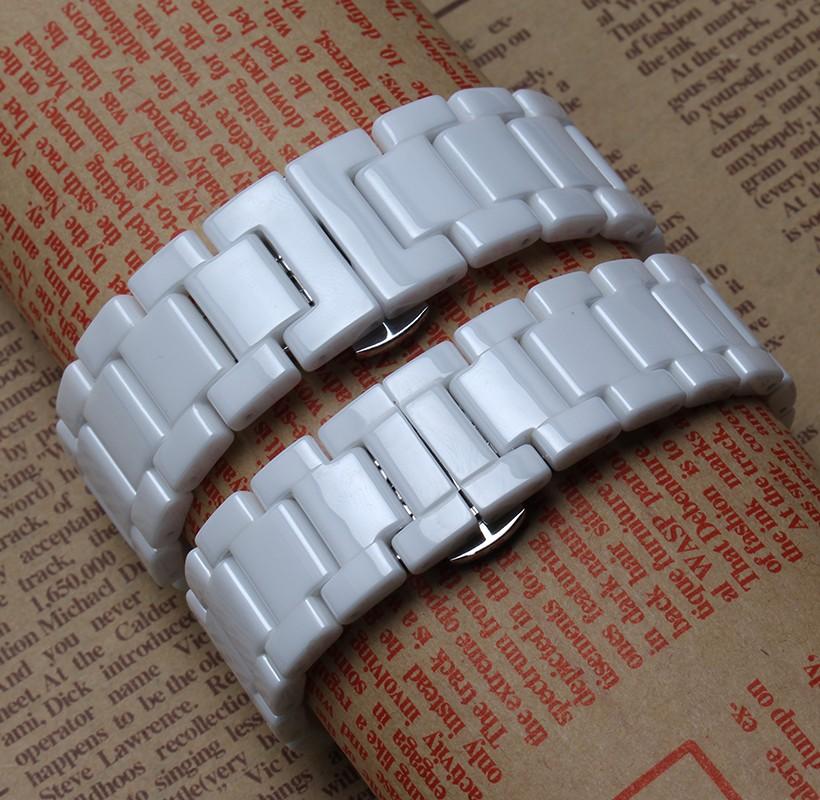 Высокое качество популярные ремешки белые керамические ремешок для часов никогда не увядает для наручных часов 14 мм 16 мм 18 мм 20 мм металлическая застежка