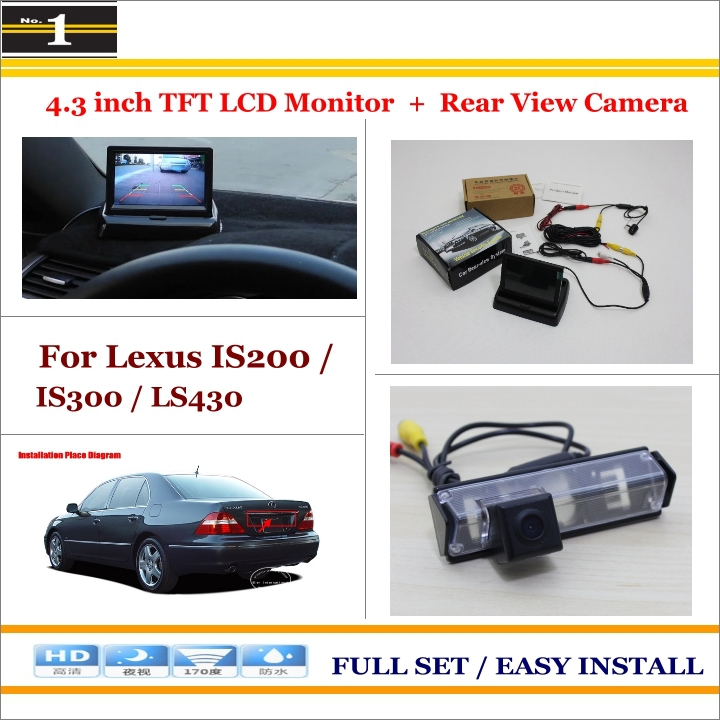 Car Reverse Backup Rear Camera + 4.3 TFT LCD Screen Monitor = 2 in 1 Rearview Parking System - For Lexus IS200 / IS300 / LS430<br><br>Aliexpress