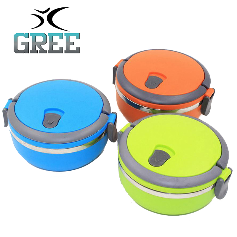 Bento Lunch Box Hot Wholesale Manufacturers Of Stainless Steel Round Environmental Preservation Insulation Lunch Box With Handle(China (Mainland))