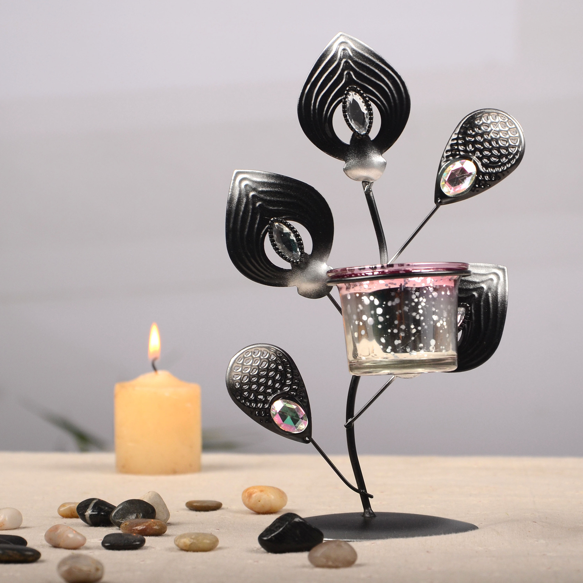 Zakka grocery classic black iron ornaments peacock Candle wedding gifts BF04(China (Mainland))