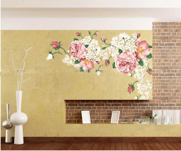 A Grand Huge Luxury Peony Flowers Wall Sticker Art Mural