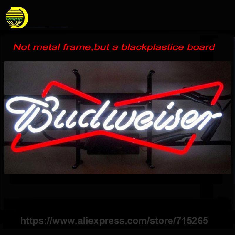 Budweiser neon sign Handmade Real Glass Tube Neon Bulb Neon Light Sign install on a plastic board 24x12 beer bar pub(China (Mainland))