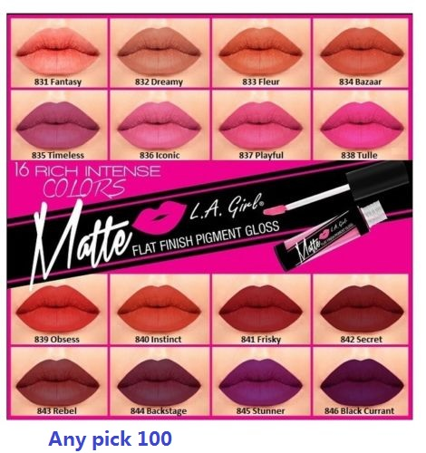 [PICK ANY 100 PCS] L.A. LA Girl Matte Lip Gloss GLG, Matte Finish Pigment -FULL SET- BRONZER<br><br>Aliexpress