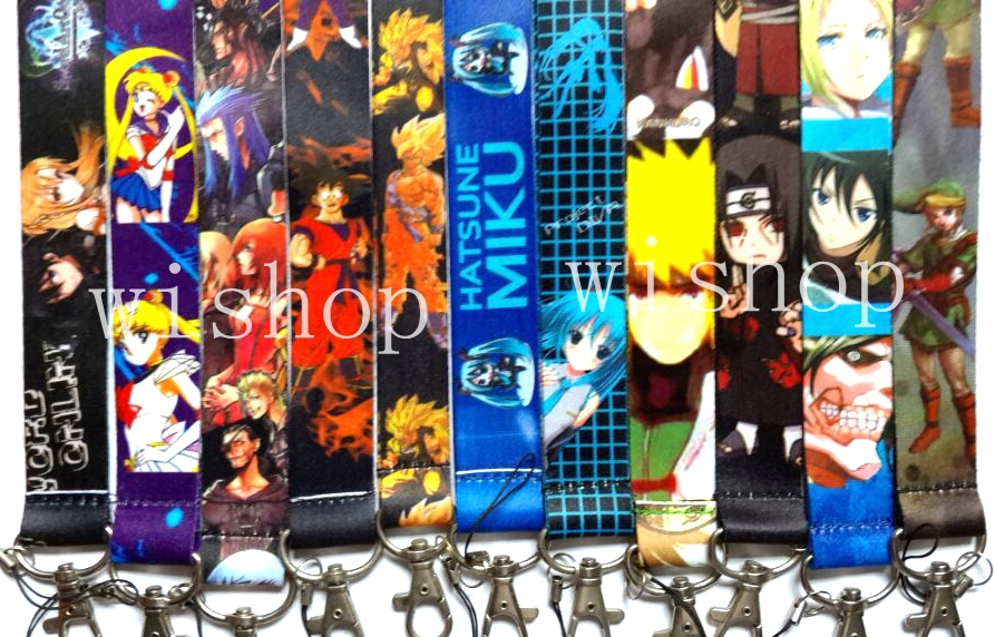 New 10pcs Mixed Japanese Anime Lanyard with Lobster Clasp Fit Key ID Mobile Cell Phone Keychain DM01
