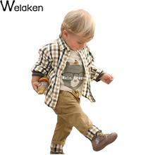 Весна осень 2016 мальчик комплект одежды мультфильм печать футболка + клетчатую рубашку + брюки 3 шт. детская одежда Kid костюм комплект