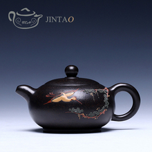 Yixing purple clay painting teapot zisha sand tea pot kungfu  set  180ml JN1307