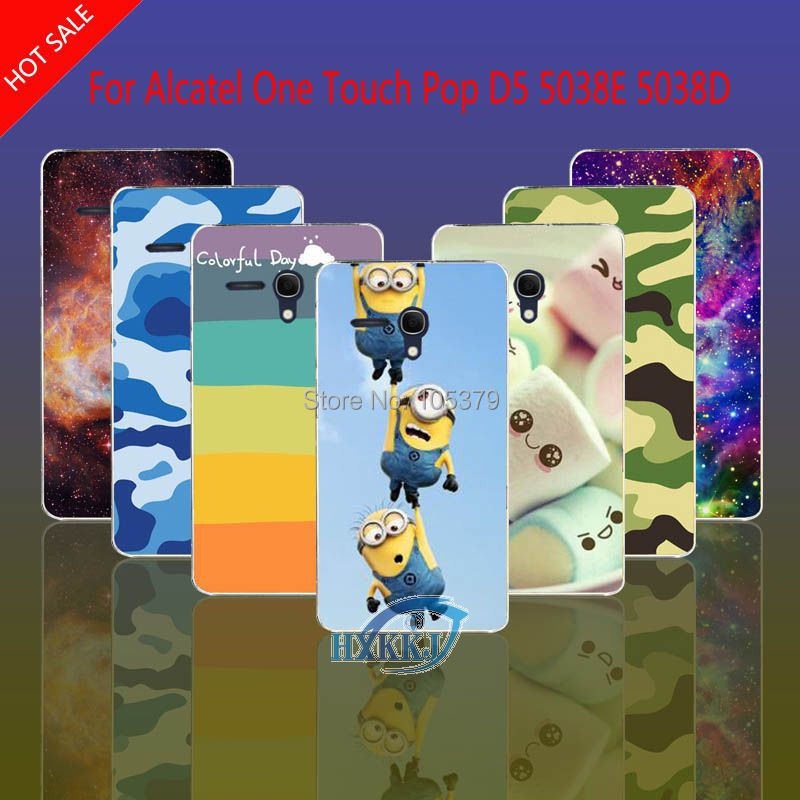 For Alcatel One Touch Pop D5 5038E 5038D OT-5038E Case Leopard Skull Cat Lotus Flower Rainbow Hard Cell Phone Case(China (Mainland))