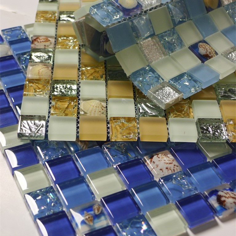 Decorate Material Shell Crystal Glass Mosaic Tile TV Setting Wall The Sitting Room Toilet Bathroom Wall Stickers Swimming Pool(China (Mainland))