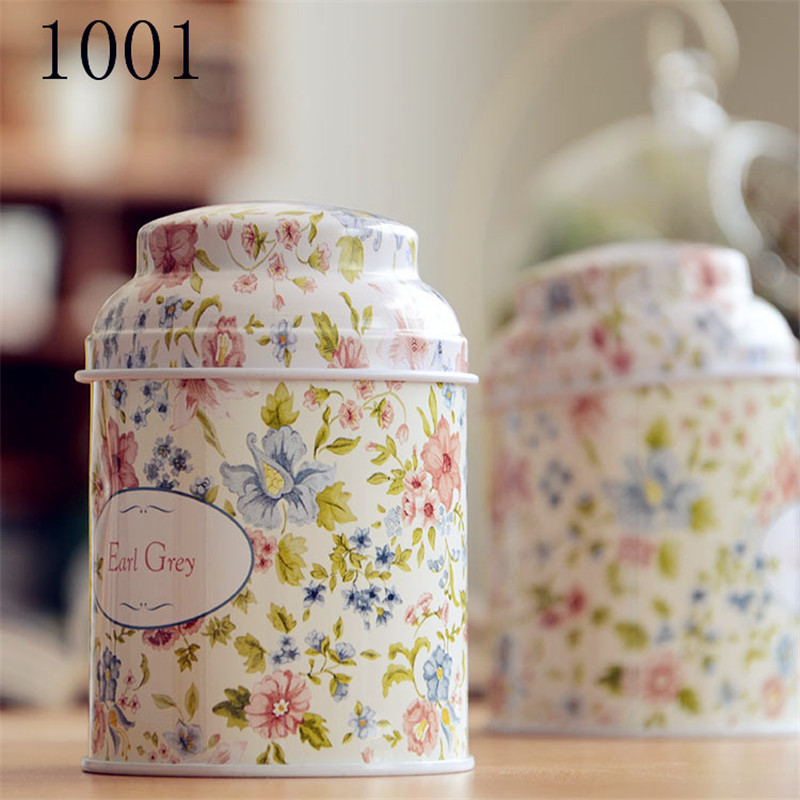 Printing Tea Caddy European Style Metal Iron Storage Tank Retro Home Decor Printing Metal Tin Box 10*7cm Earl Grey Tea Caddy