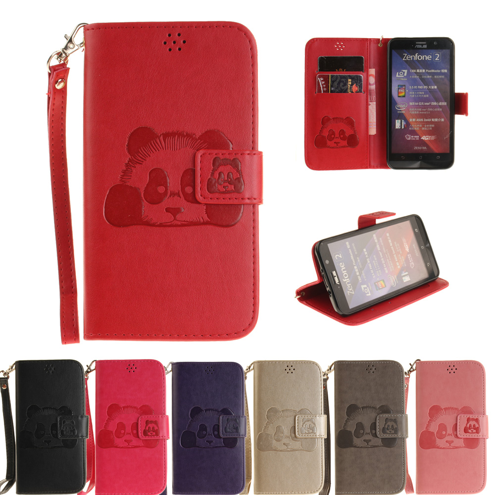 Case Asus Zenfone 2 ZE551ML (5.5 inch) cover coque fashion printing Panda PU Leather Stand fundas capa Card Slot  -  Holly Reliable (HK store industry co.,LTD store)