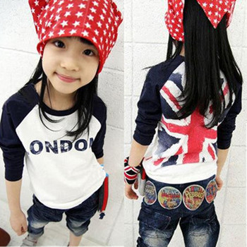 Girls Boys T-shirt children's clothes rice word flag boys and girls long-sleeved T-shirt stitching casual t shirt bottoming