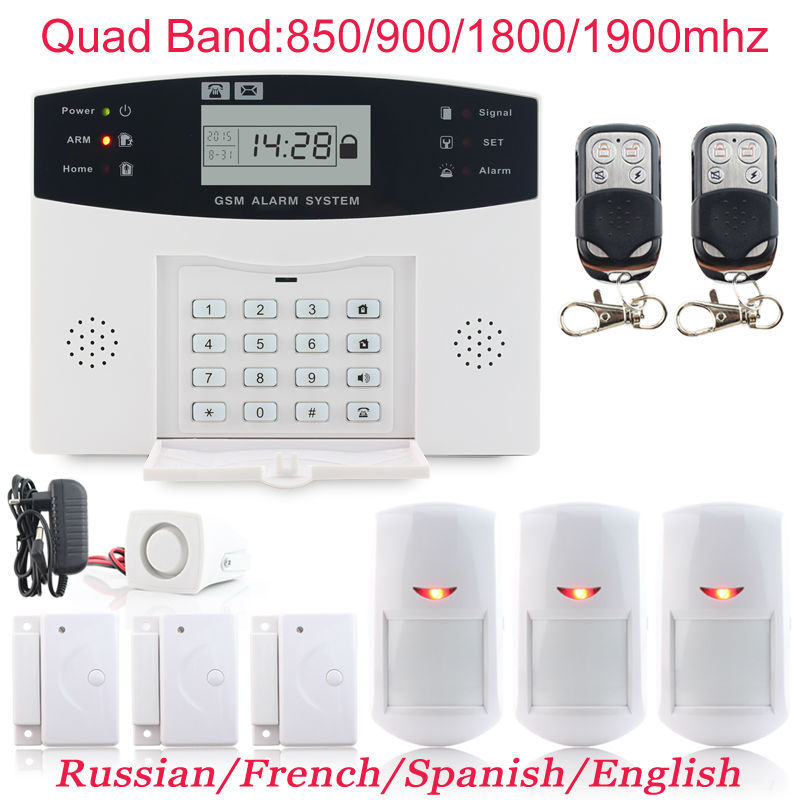 LCD Display Protection Kit 3x Door Sensor PIR Detector Wireless Quad Band GSM Home Burglar Voice Alarme System intercom Monitor(China (Mainland))