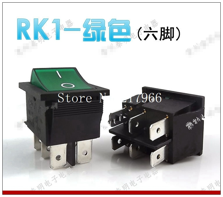 100PCS XRocker Power Switch Rocker Switch Rocker Switch with light green 16A RK1 SOKEN 6 feet<br><br>Aliexpress
