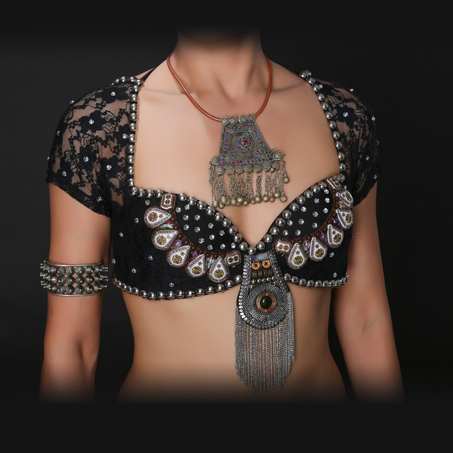 New 2016 ATS Tribal Belly Dance Bra Tops Metallic Studs Push Up BeadsBra B/C CUP Vintage Coins Top Gypsy Dance Bra Lace(China (Mainland))