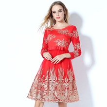 Buy embroidery party dress 2017 NEW High quality spring Women Europe Clothing vintage Dress Cute Lace free shipping dresses Red for $54.98 in AliExpress store