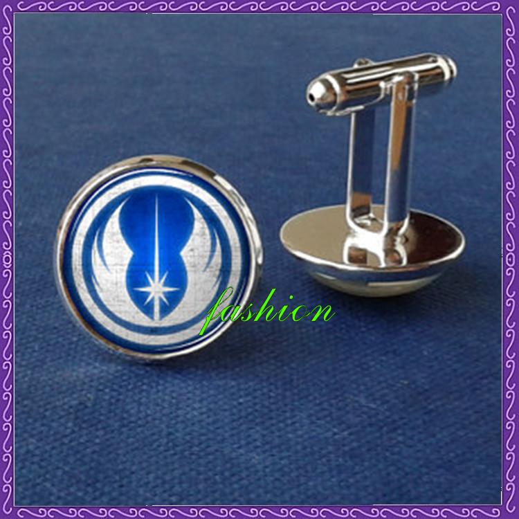 Jedi Knight logo cufflinks star wars cufflinks geometric cuff link glass picture cufflink minimalistic motif design man gift(China (Mainland))