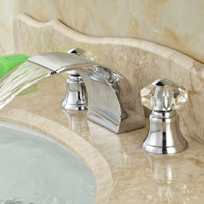 Фотография Polished Chrome Waterfall Spout Bathroom Brass Sink Mixer Faucet Deck Mount Basin Hot Cold Taps