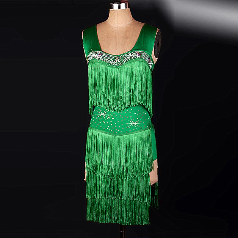 Classy tassel green Latin dance Tango/samba/Rumba costumes modern dance dresses practice competition performance dress(China (Mainland))