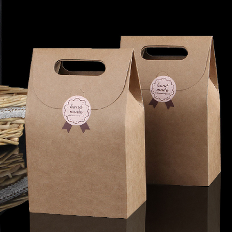 10*6*15.5cm 5pcs Hengxin Hot Gift Kraft Paper Bags For Food Cake Cookies Packing Shopping Bag Hand Length Handle Gift Packing(China (Mainland))