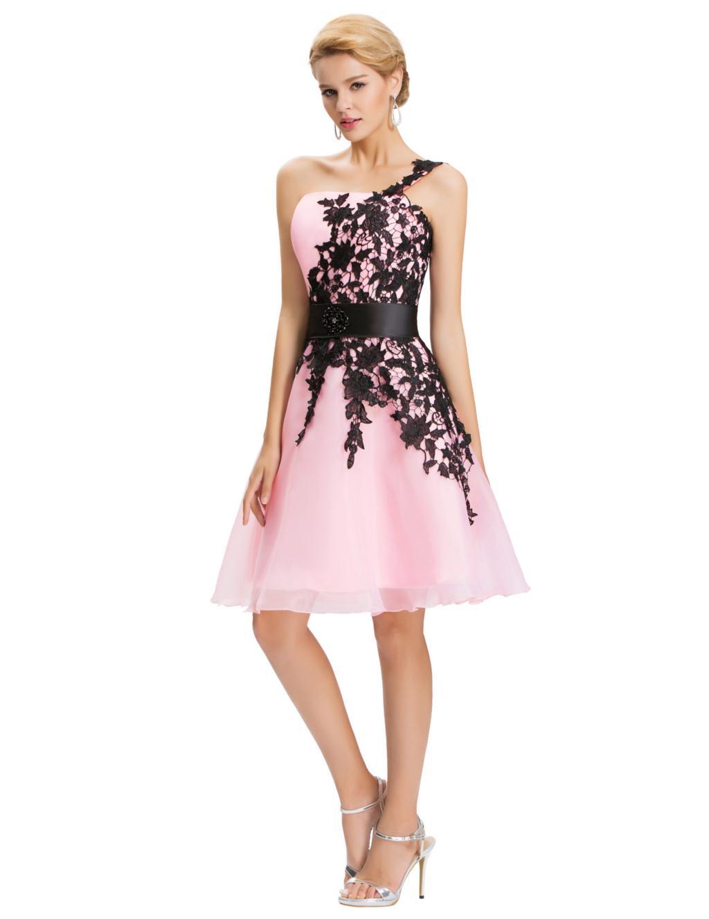 Грейс карин короткие коктейльные платья 2016 новый сексуальный черный аппликации кружевном платье для ну вечеринку халат коктеила платья выпускного вечера 4288