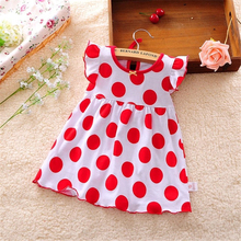 2016 New Baby Girl Dress 0-2 Year Big Red Dot Vestido infantil Girls Fashion Cotton Regular Clothing Short Sleeve A-Line Clothes