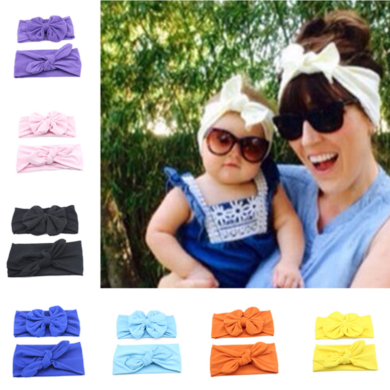 Retail Mommy and Me Cotton Turban Head Wrap Set Baby Girl Hair Accessories Knotted Headband Photo Prop(China (Mainland))