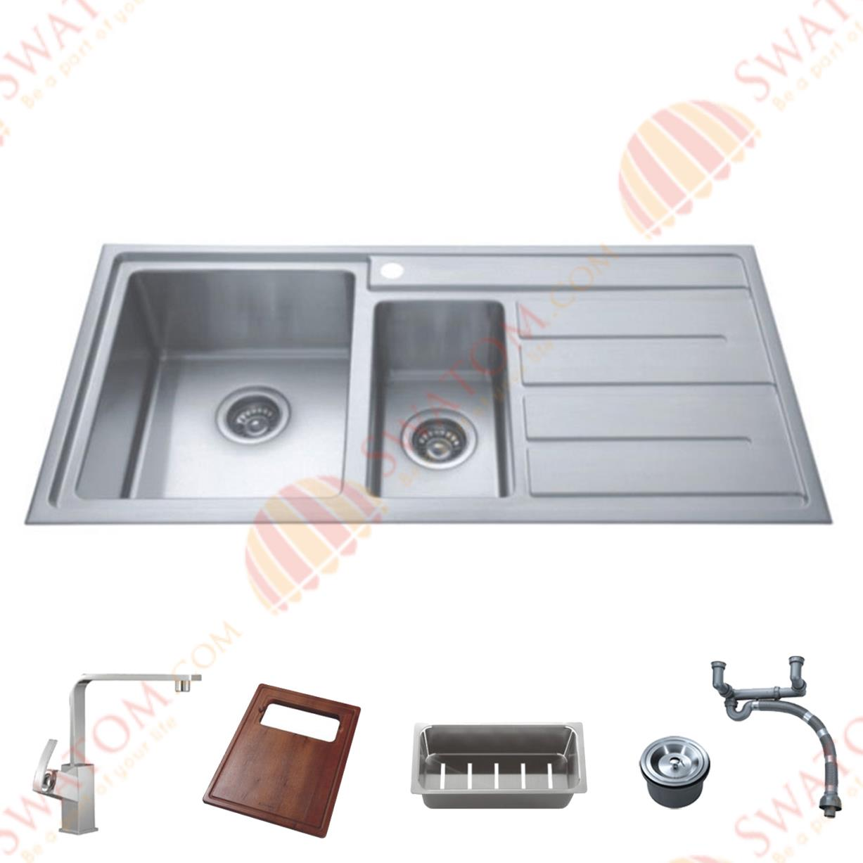 39 1 2 Inch 12mm Thickness Stainless Steel Topmount Drop in Double Bowl font b Kitchen