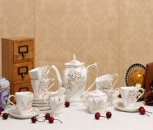 The new bone china tea with 15 hand Coffee suit cup and saucer Teapot Set embossed gold ceramic gifts