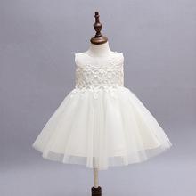 Princess Baby Christening Dress Lace flower Infant Girls Baptism Dress Toddler tutu wedding dress with hat for 3-12M(China (Mainland))