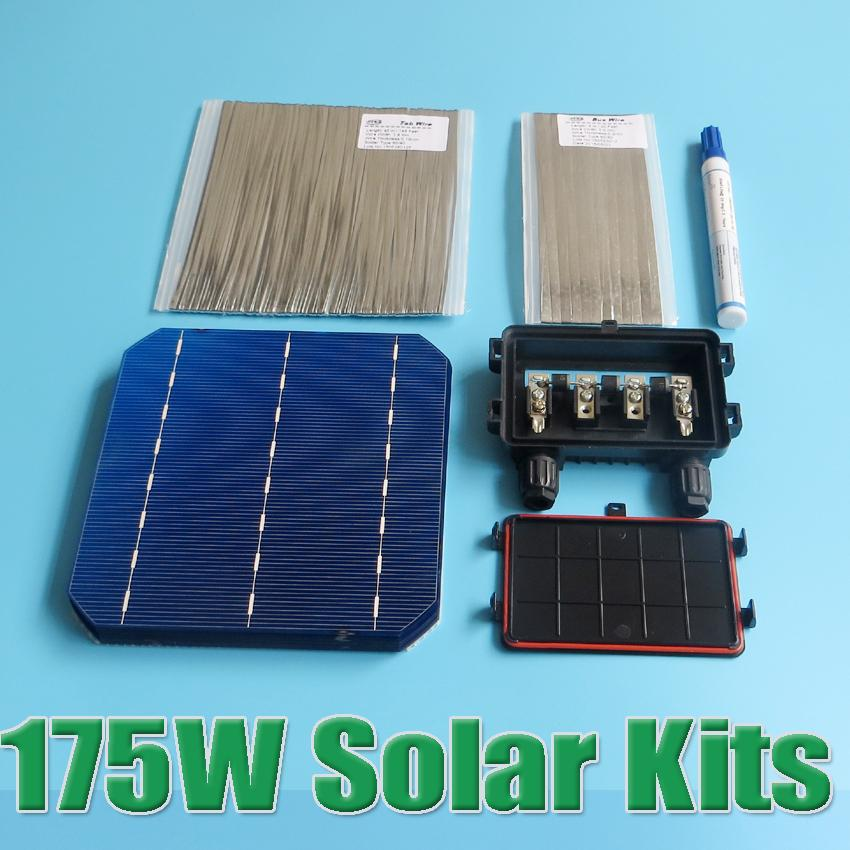 Hot Sale 175W DIY Solar Panel Kit 6x6 156 Mono Monocrystalline solar cell tab wire Bus wire Flux pen Junction Box(China (Mainland))