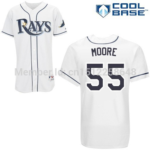 2015 cheap Matt Moore 55# Tampa Bay Rays Baseball jerseys More color embroidered various styles size S-5XL(China (Mainland))