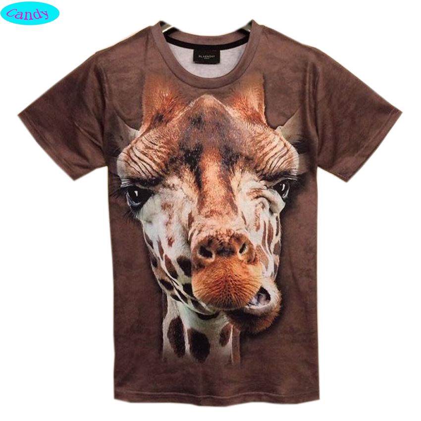 2016 3D Animal t shirt for boys and girls funny giraffe Headphones Rabbit animal printed big