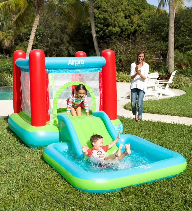 Inflatable Water Slide Pool Bouncy Castle: Children Outdoor Toy Self Inflating Bouncy Castle Slide