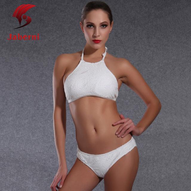Лето Trikini кружева купальники спорт и купальный сексуальный купальник высокая шея холтер бикини белый чистые женщины пляж костюм для плавания